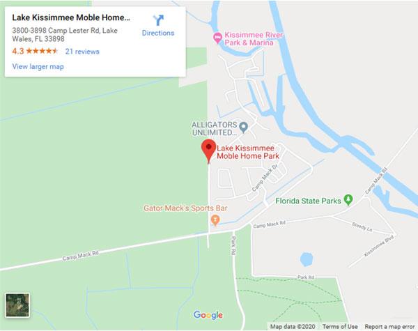 Lake Kissimmee Mobile Home Park Map Screenshot